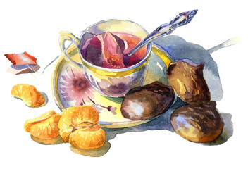 Sweet breakfast with tea, marshmallow and tangerines. Watercolor. illustration