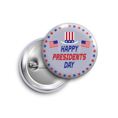 Presidents day button,badge,banner isolated with flags USA and Sam hat