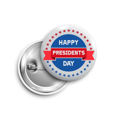 Presidents day button,badge,banner isolated with red ribbon