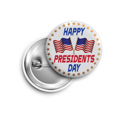 Presidents day button,badge,banner isolated with two flags USA