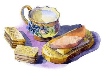 Mug with fresh milk, waffles, a sandwich with sausage and cheese. Watercolor. Illustration