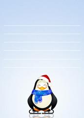 illustration of penguin on Santa Claus letter
