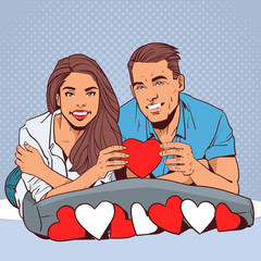 Happy Couple Holding Red Heart Smiling Man And Woman In Love Over Comic Pop Art Style Valentine Day Celebration Concept Vector Illustration
