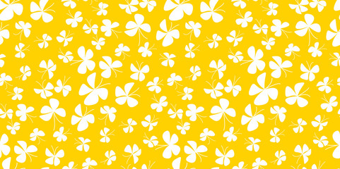 Abstract  scattered butterfly background for baby shower, fabric, wrapping paper, package. Yellow floral summer style seamless pattern. Vector illustration for card, invitation.