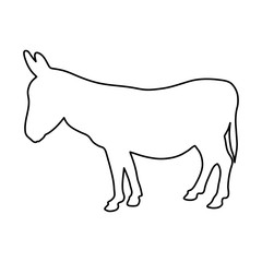 donkey standing of black contour curves on white background of vector illustration