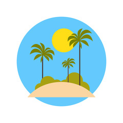 Beach With Palm Trees Icon Summer Vacation On Tropical Island Travel Concept Flat Vector Illustration