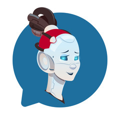 Chatbot Cute Female Robot In Chat Bubble Icon Isolated Chatterbot Technology Concept Flat Vector Illustration