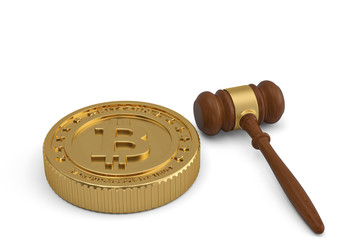 Bitcoin and auction hammer on white background.3D illustration.
