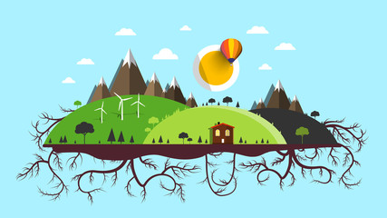 Abstract Vector Flat Design Landscape. Island with Roots,