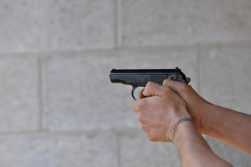 Aiming and Shooting .45 Caliber 1911 Hand Gun