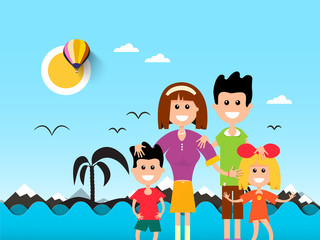 People on Beach with Ocean Waves and Palm Tre Silhouette on Background. Vector Flat Design Sea Illustration.