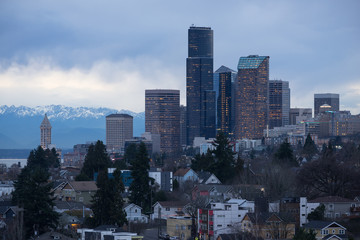Winter Grey Skies Seattle Washington Downtown City Skyline