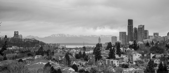 Winter Grey Skies Monochrome Seattle Washington Downtown City Skyline