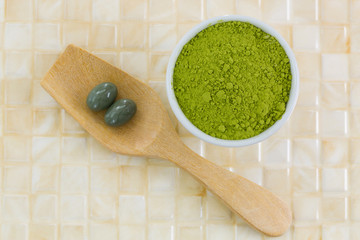 Japanese Matcha green tea powder, extracted Green tea concentrate in soft gel supplement capsule