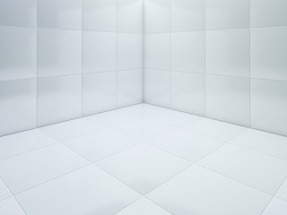 White tile floor corner 3D rendering