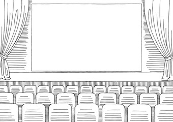 Cinema interior graphic black white sketch illustration vector
