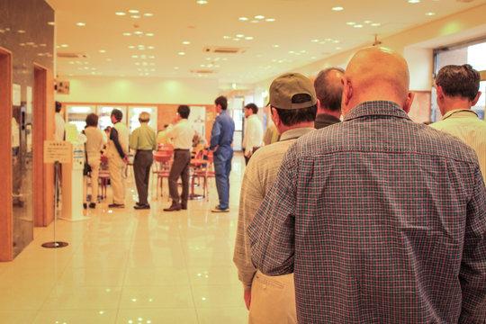 Human queue in line