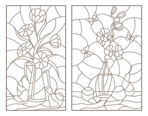Set contour illustrations of the stained glass Windows with still lifes , flowers in vases and fruit