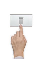 Energy saving idea with business persons hand turn off switch light button isolated on white background (clipping path)