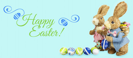 Happy easter with easter bunny eggs background blue