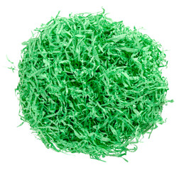 Green paper Easter grass nest from above. Colored crinkle grass. Gift basket shred and filler. Decoration.