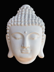 The front head of white Buddha on black background