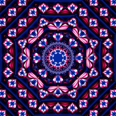 Fantastically beautiful 3D fractal abstract patterns.Decorative Arabic style.Mosaic tiles.