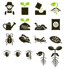 Plant icons. Vector Illustrations.