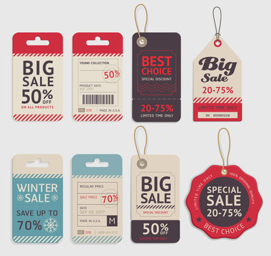 Price tags label design set. Vector illustration.