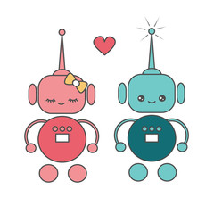 cute cartoon vector robots in love