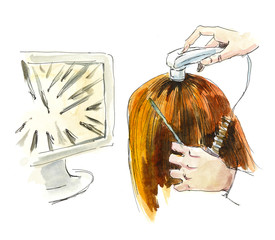 Treatment of hair. Watercolor hand drawn illustration.