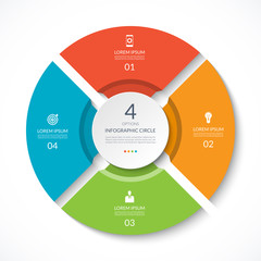 Infographic circle. Process chart. Vector diagram with 4 options. Can be used for graph, presentation, report, step options, web design.