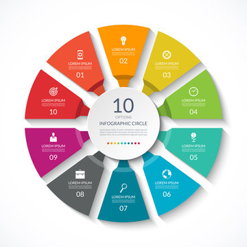 Infographic circle. Process chart. Vector diagram with 10 options. Can be used for graph, presentation, report, step options, web design.