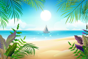 Paradise tropical beach landscape. Coastline, palm leaves, blue sea and sky
