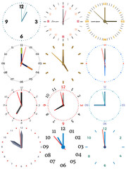 A set of different mechanical clocks with an image of each of the twelve hours. Clock face on white background.
