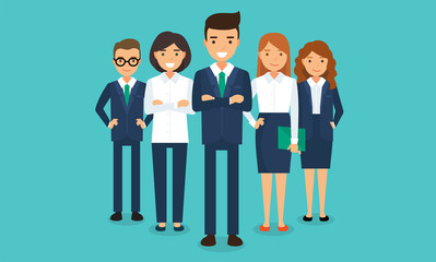Business team - a group of happy men and women in office clothes, vector illustration in flat style
