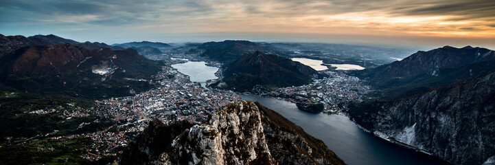 Fotomurales - panoramic view to Lecco city - Lake Como district Lombardy Italy