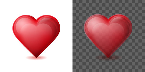 Red heart isolated on white and transparent background. Glossy crystal glass heart symbol of Valentines day.