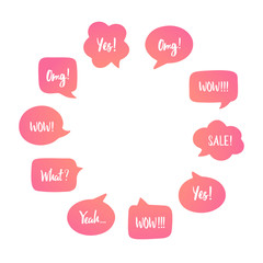 Color speech bubbles set with short messages of surprise and good news: yes, omg, wow, yeah. Vector illustration in circle