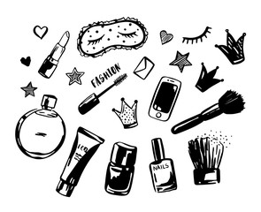 Hand drawn set of fashionable cosmetics, perfume, phone, crowns, stars and hearts and others. Objects isolated on white. Beauty vector illustration
