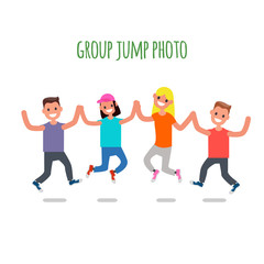 Group Jump Photo. Flat design Characters. Vector