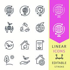 Ecology - line vector icon set. Editable stroke.