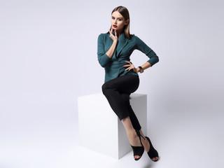 high fashion portrait of young elegant woman.