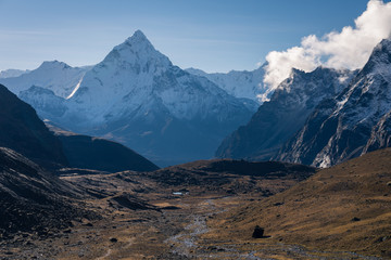 Ama Dablam mountain peak view from Chola pass, Himalaya mountains range, Nepal