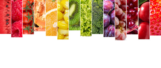 Kolaż różnych owoców i warzyw