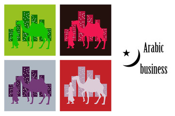 assembly of flat icons on theme Arabic business Arab with a camel