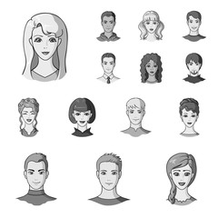 Avatar and face monochrome icons in set collection for design. A person's appearance vector symbol stock web illustration.