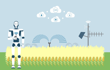 Wall Mural - Internet of things in agriculture. Smart farm with artificial intelligence control. Vector illustration EPS 10