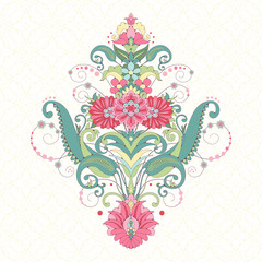 Vector background. Element beautiful oriental floral pattern. Seamless delicate ornament. Delicate green and pink.