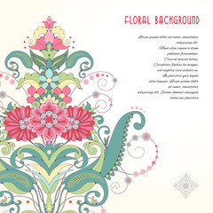 Vector card. Oriental floral angular pattern. Delicate green and pink. Place for your text.